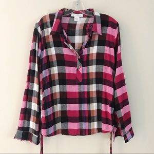 Plaid Button large Top Side cinching Roll sleeves